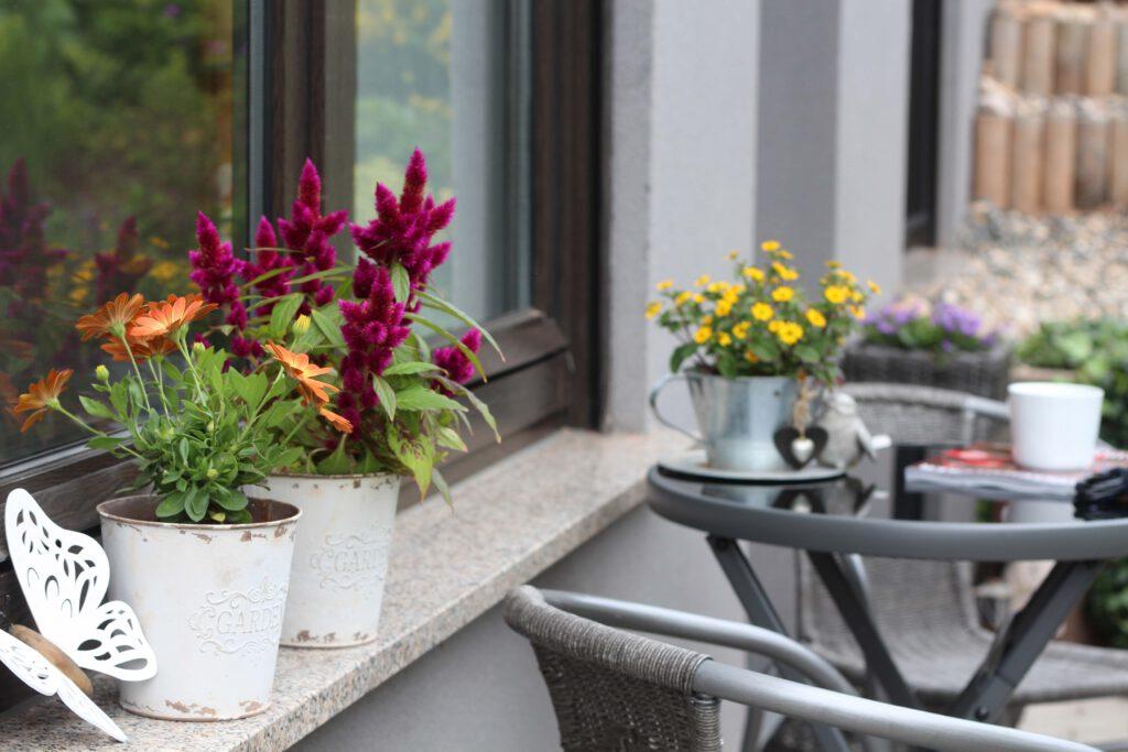 Blumen-Fensterbank
